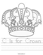 C is for Crown Handwriting Sheet