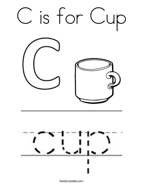 C is for Cup Coloring Page