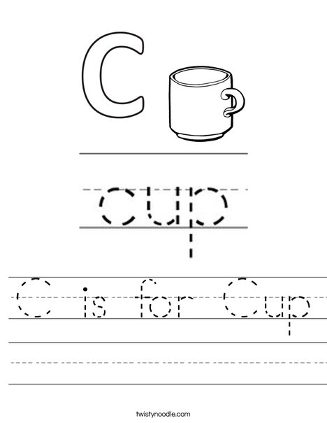 C is for Cup Worksheet