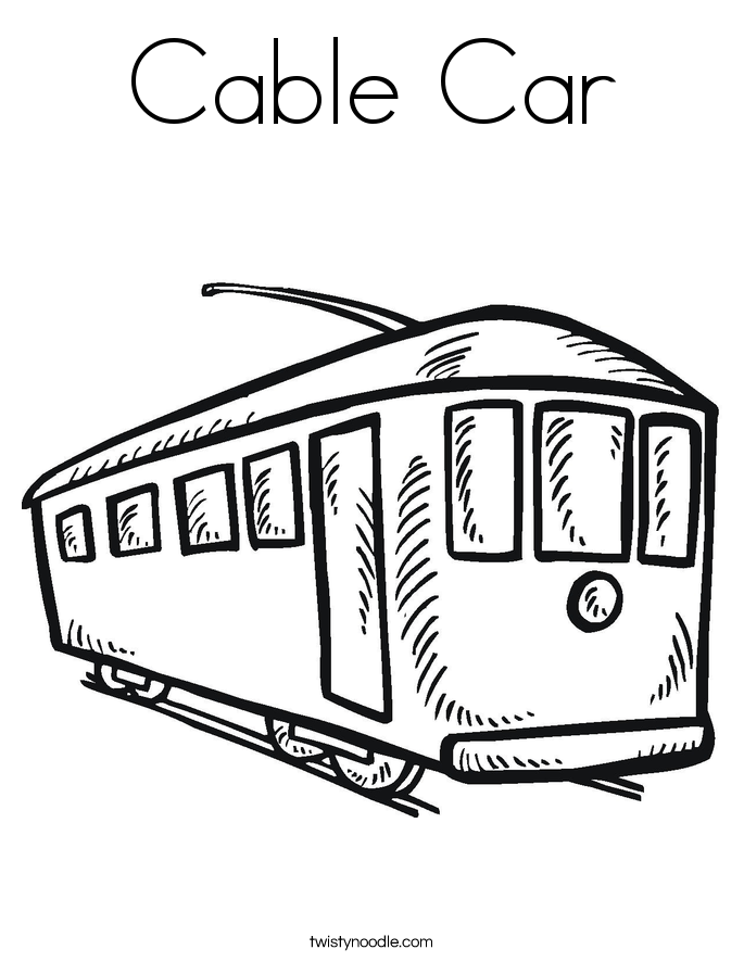 Cable Car Coloring Page Twisty Noodle