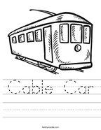 Cable Car Handwriting Sheet