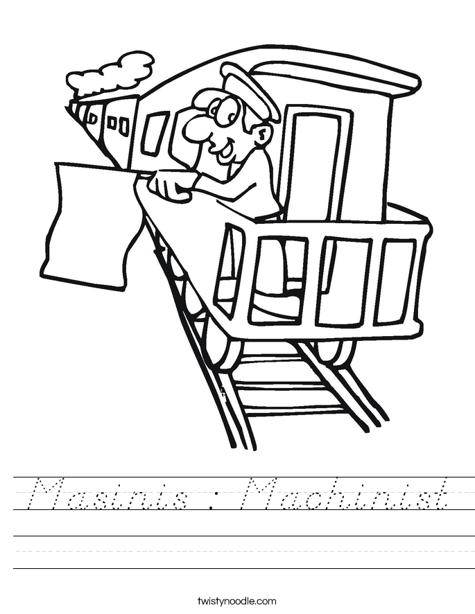 Masinis : Machinist Worksheet