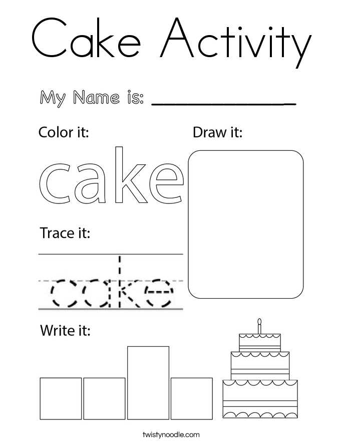 Cake Activity Coloring Page