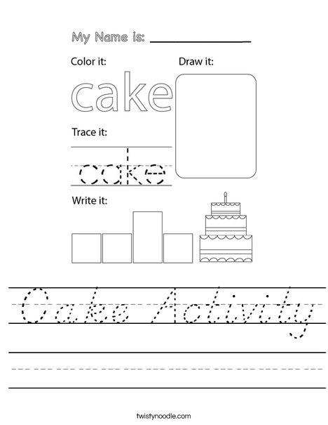 Cake Activity Worksheet