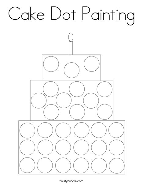 Cake Dot Painting Coloring Page