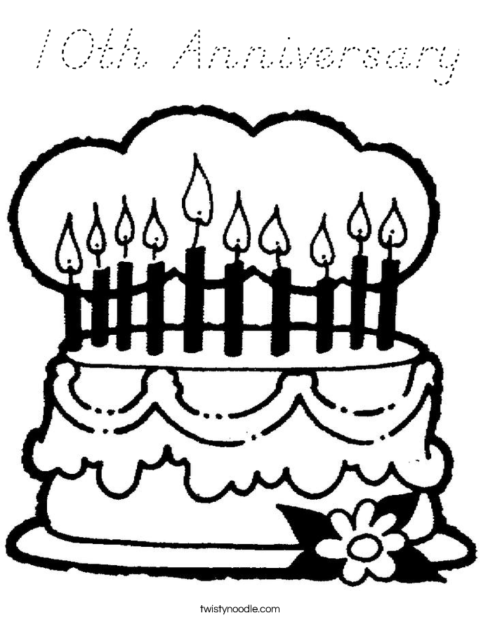 10th Anniversary Coloring Page