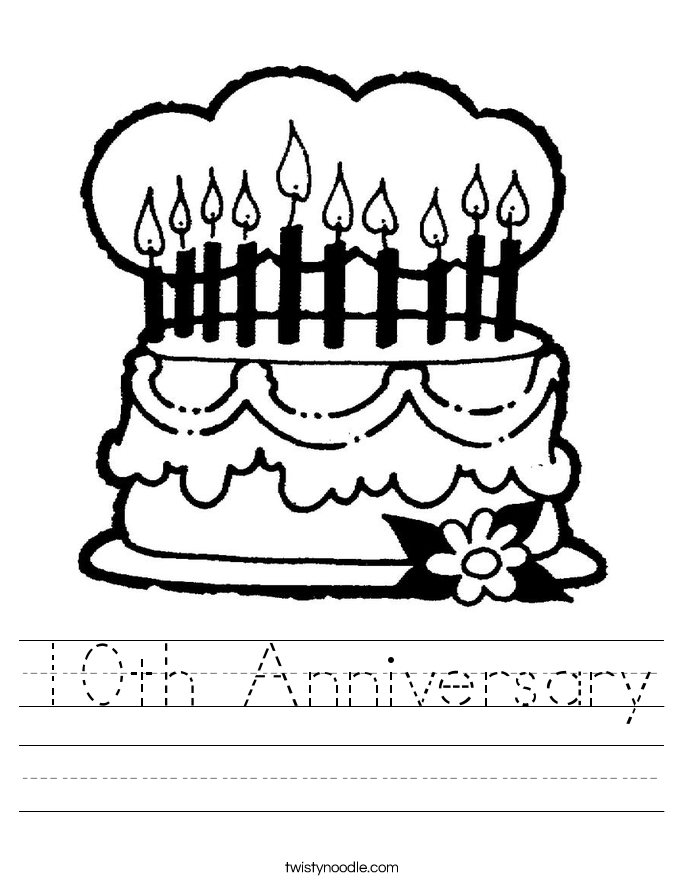 10th Anniversary Worksheet