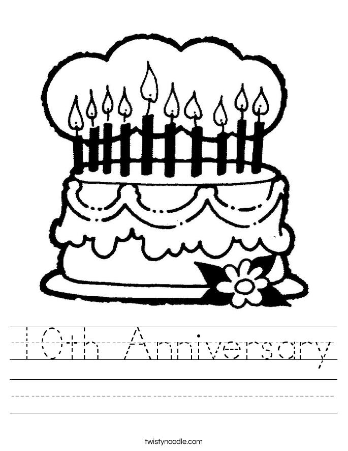 10th Anniversary Worksheet