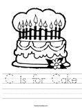 C is for Cake Worksheet