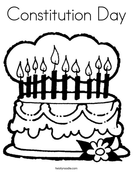 Cake with 10 candles Coloring Page
