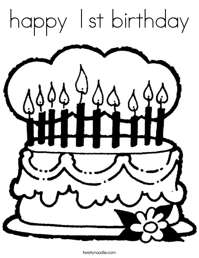 coloring pages 1st birthday - photo#23