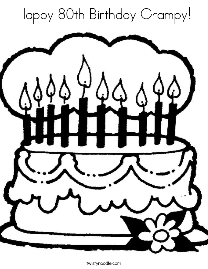 Happy 80th Birthday Grampy! Coloring Page
