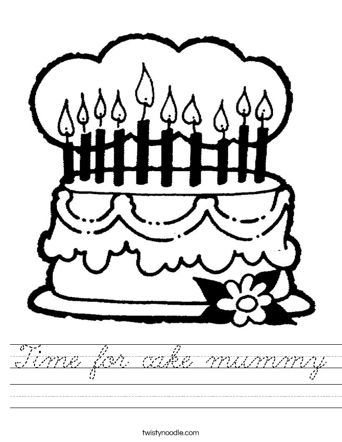 Time for cake mummy Worksheet