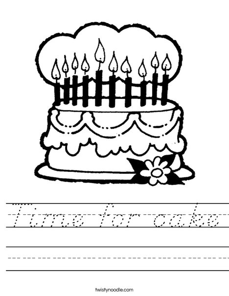 Cake with 10 candles Worksheet