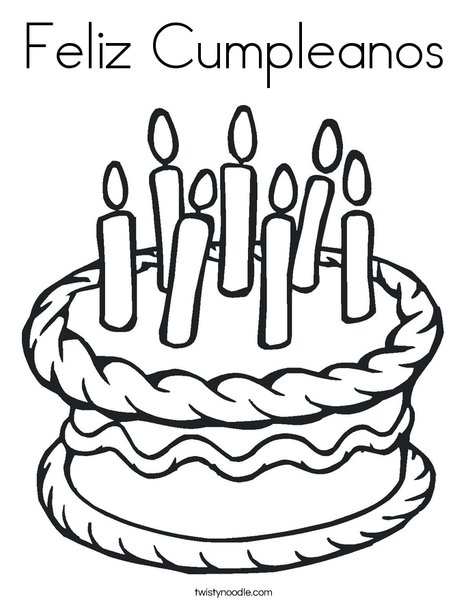 cake with 7 candles coloring page - Feliz Cumpleanos Coloring Pages
