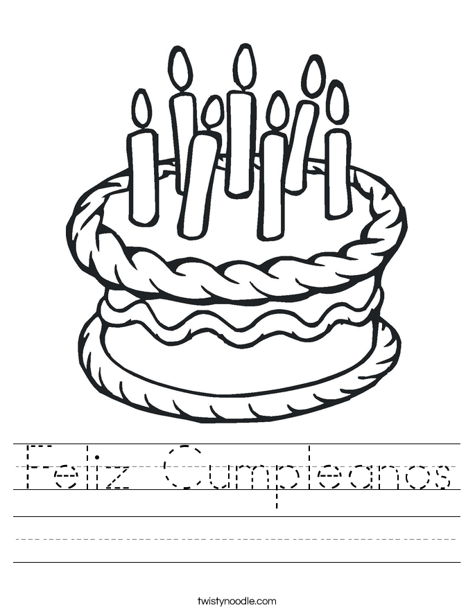 feliz cumpleanos worksheet - Feliz Cumpleanos Coloring Pages