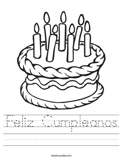 cake with 7 candles worksheet - Feliz Cumpleanos Coloring Pages
