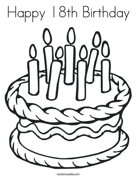 Happy 18th Birthday Coloring Page - Twisty Noodle