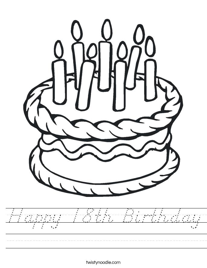 Happy 18th Birthday Worksheet