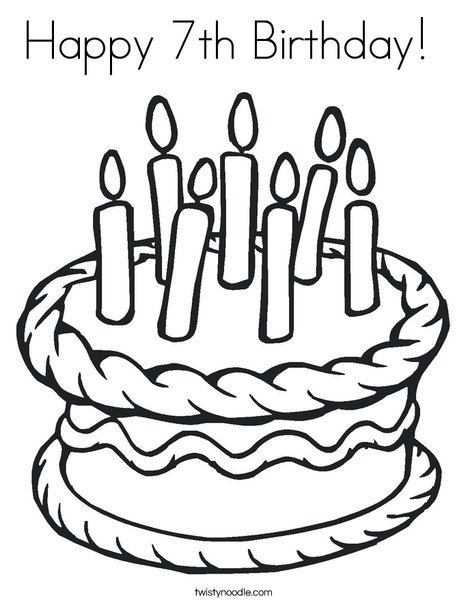 Happy 7th Birthday Coloring Page - Twisty Noodle