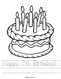 Happy 7th Birthday!  Worksheet