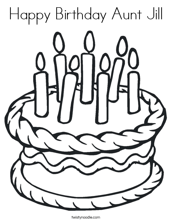 birthday coloring pages for aunts - happy birthday aunt jill coloring page twisty noodle