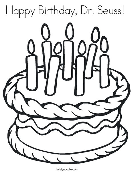 cake with 7 candles coloring page - Dr Seuss Coloring Pages