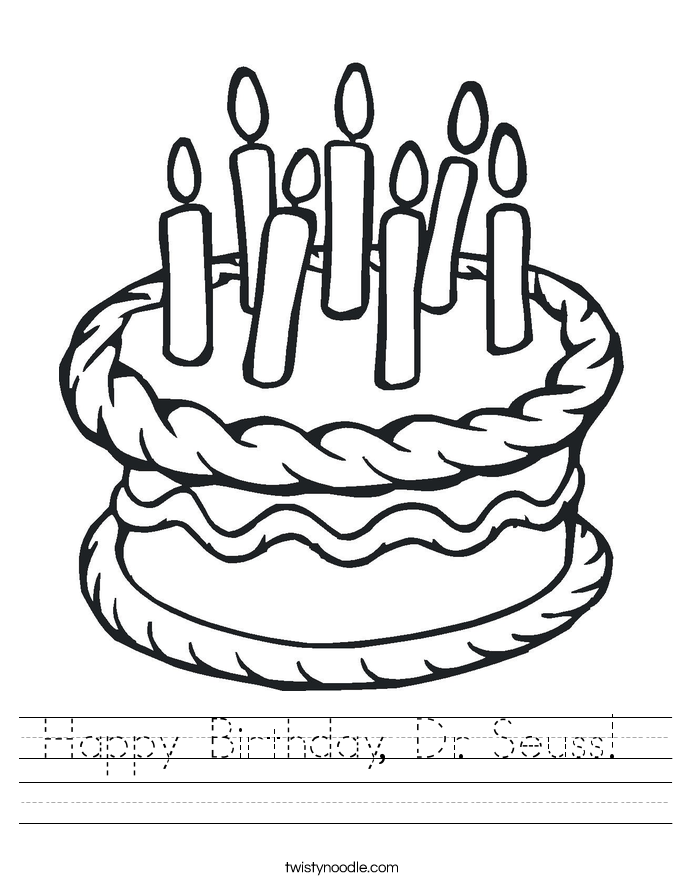 Happy Birthday Dr Seuss Worksheet Twisty Noodle