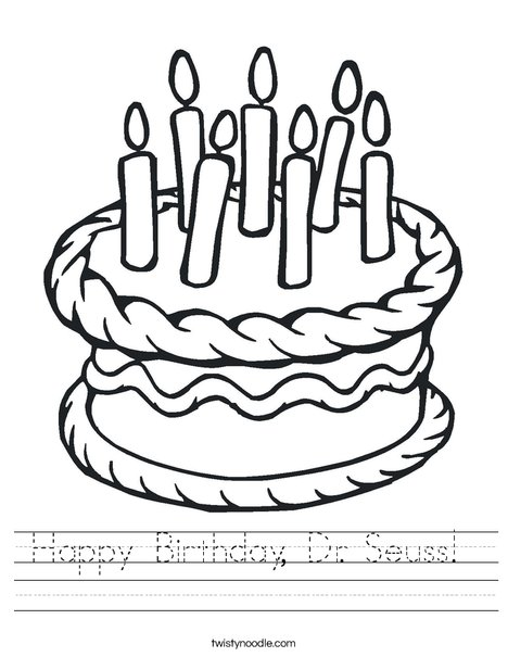 Printables Dr Seuss Worksheets happy birthday dr seuss worksheet twisty noodle cake with 7 candles worksheet
