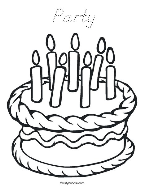 Cake with 7 candles Coloring Page