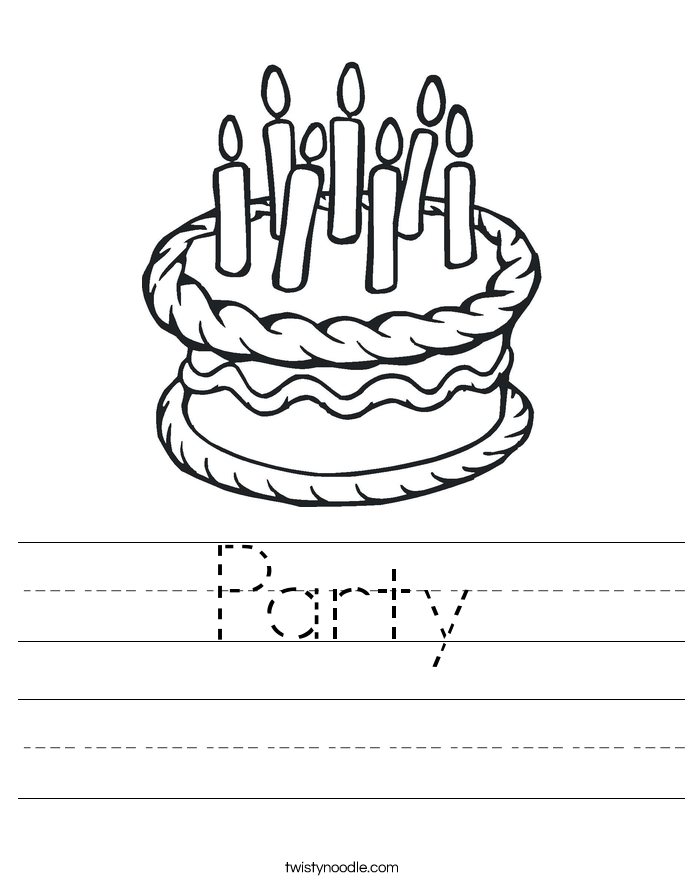 Party Worksheet Twisty Noodle