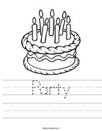 Party Handwriting Sheet