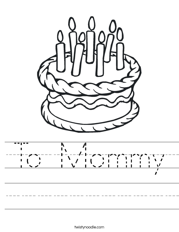 To Mommy Worksheet