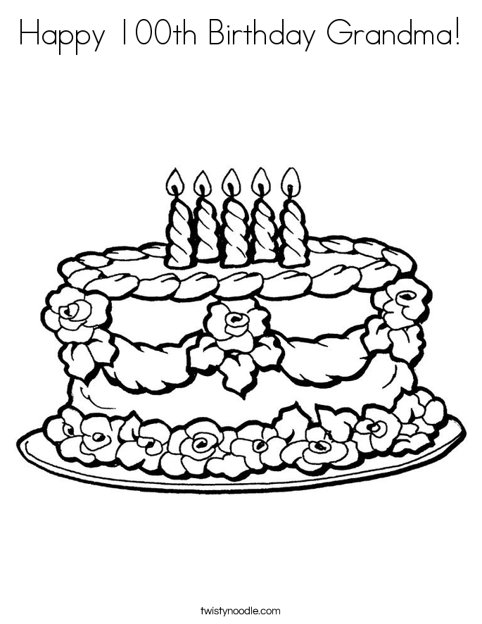 Happy 100th Birthday Grandma! Coloring Page