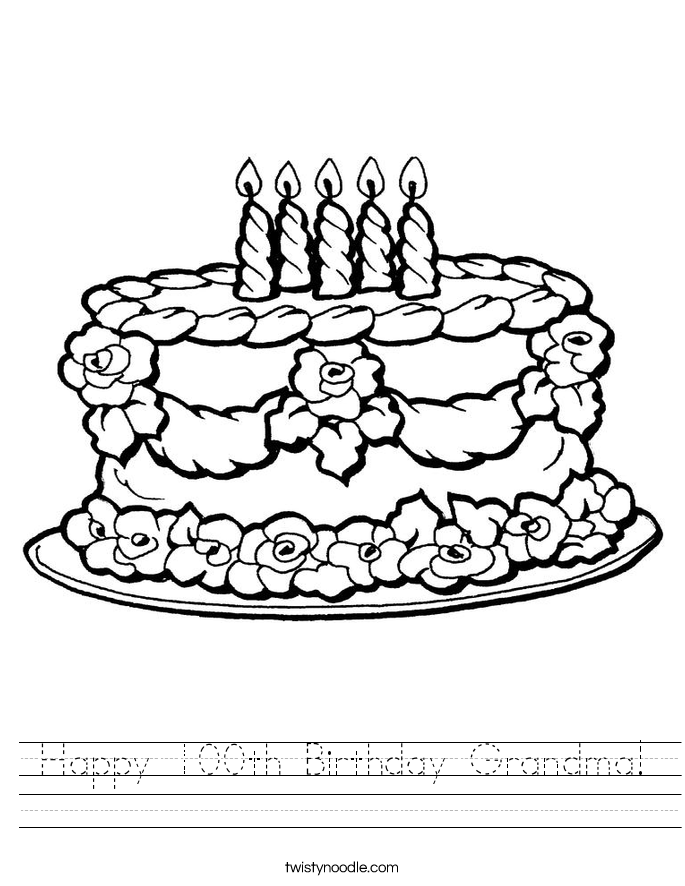 Happy 100th Birthday Grandma! Worksheet
