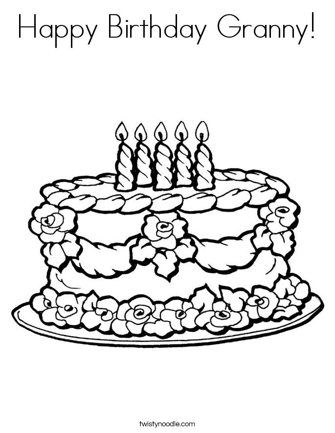 Happy Birthday Granny Coloring Page - Twisty Noodle