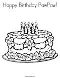 Happy Birthday PawPaw! Coloring Page