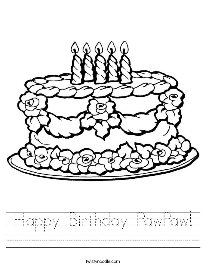 Happy Birthday Pawpaw Worksheet Twisty Noodle