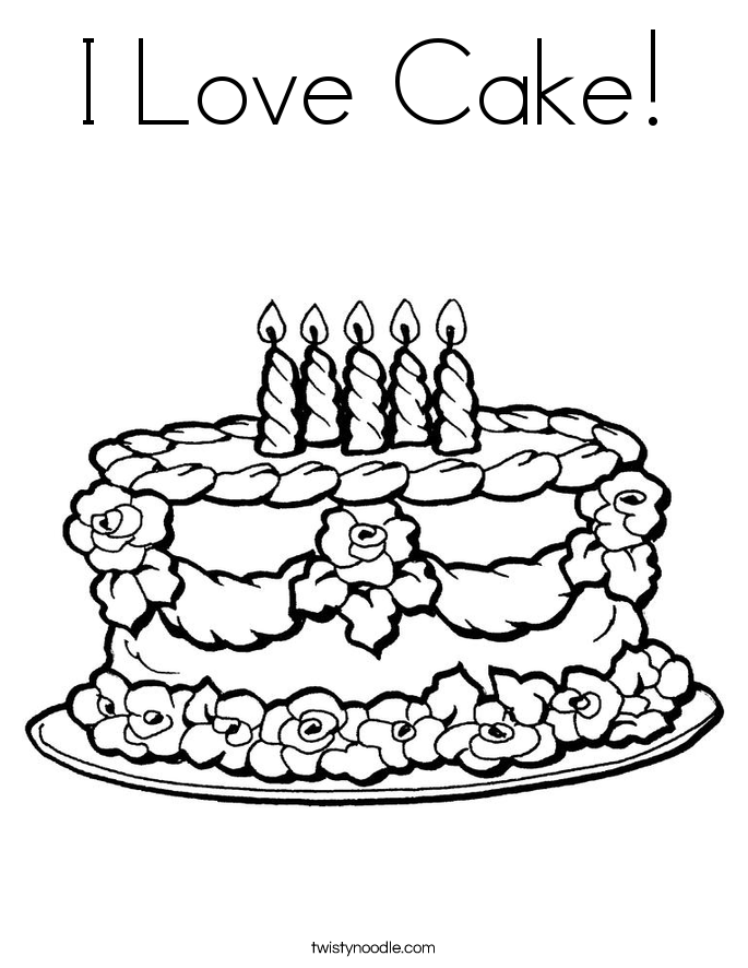 i love cake coloring page - Birthday Cake Coloring Pages