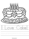 I Love Cake! Worksheet