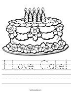 I Love Cake Handwriting Sheet