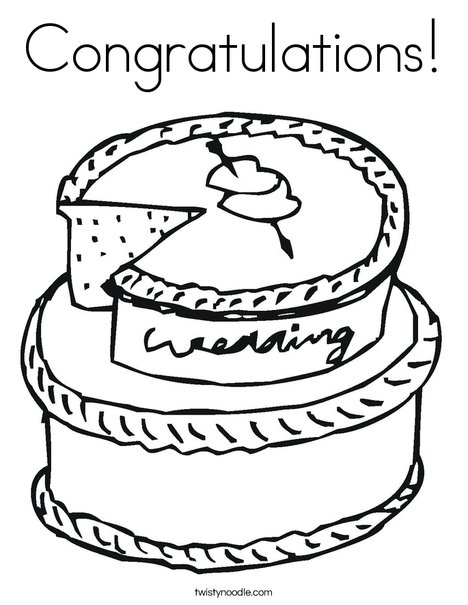 Cake with Hearts Coloring Page