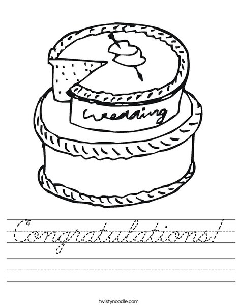Cake with Hearts Worksheet
