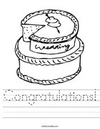Congratulations Handwriting Sheet