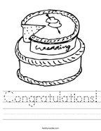 Congratulations Handwriting Sheet