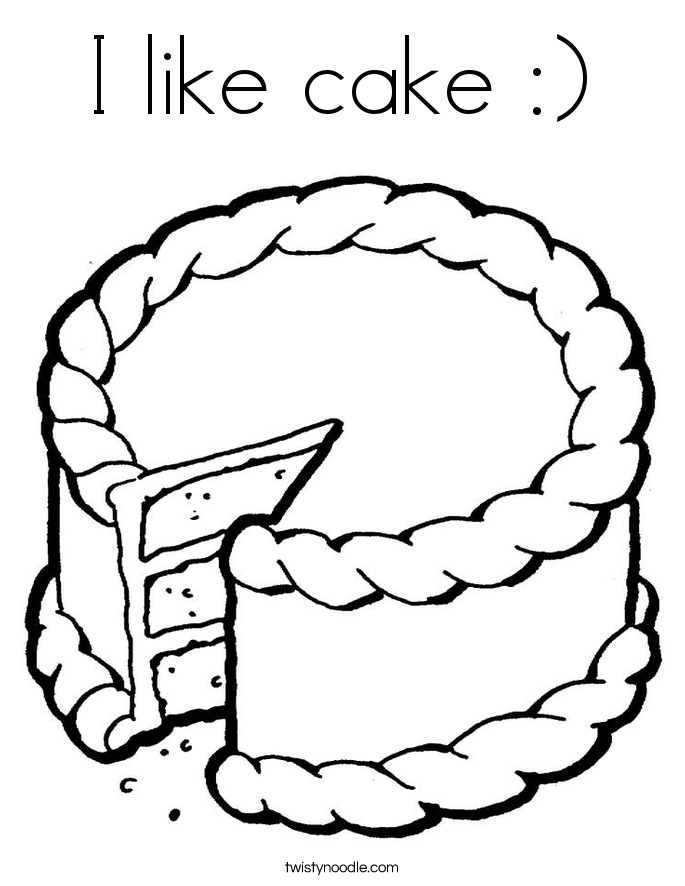 I like cake Coloring Page Twisty Noodle