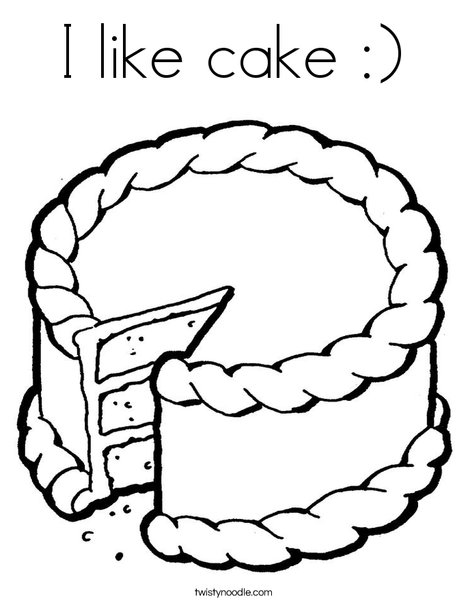 Cake with missing piece Coloring Page