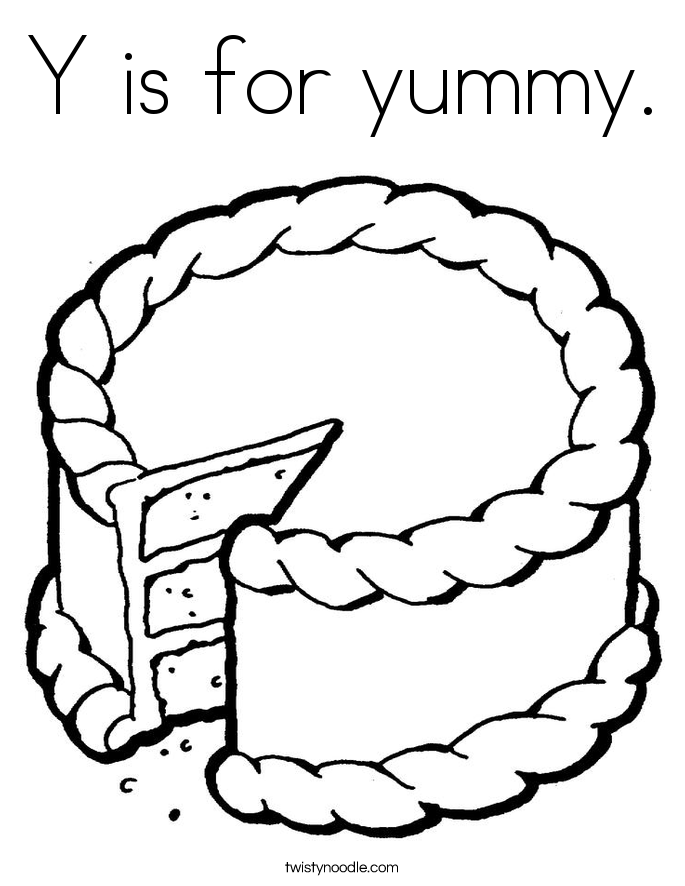 Y is for yummy. Coloring Page