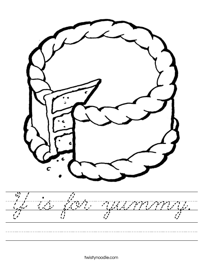 Y is for yummy. Worksheet