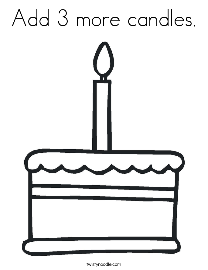 Add 3 more candles. Coloring Page